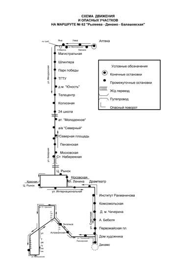 полуслово: схема движения автобуса 62.